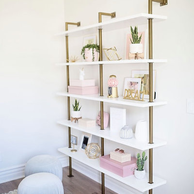 Mid-sized transitional girl brown floor kids' room photo in Phoenix with white walls