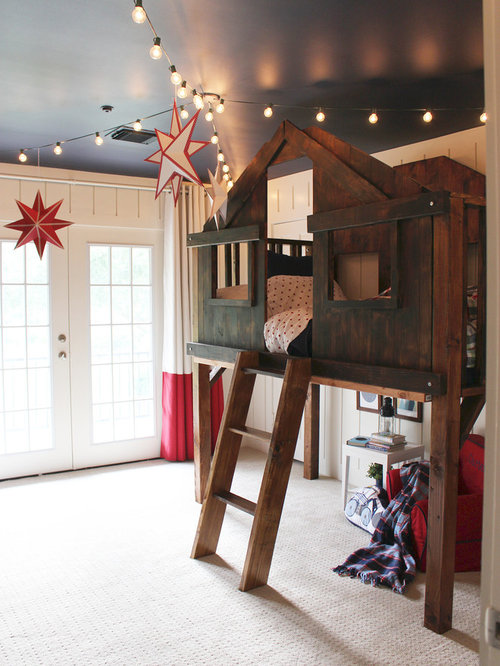 Inspiration for a mid sized eclectic gender neutral carpeted kids  bedroom  remodel in. Loft Style Bed   Houzz
