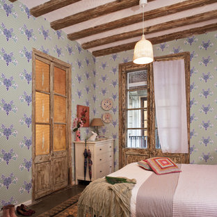 Inspiration for a mid-sized shabby-chic style kids' room in Barcelona with multi-coloured walls and ceramic floors.