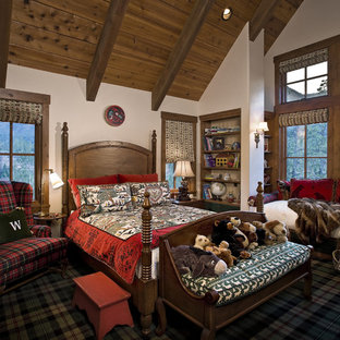 Example of a mountain style carpeted kids' bedroom design in Other with white walls