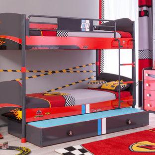 Пример оригинального дизайна: маленькая детская в стиле модернизм с спальным местом для ребенка от 4 до 10 лет, мальчика