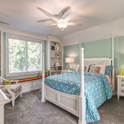 Example of a classic girl carpeted and gray floor kids' room design in Other with multicolored walls