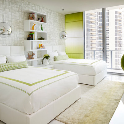 Large trendy gender-neutral white floor kids' room photo in Miami with gray walls