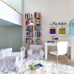 Inspiration for a scandinavian kids' study room remodel in New York with beige walls