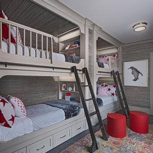 Idéer för ett medelhavsstil könsneutralt barnrum, med grå väggar