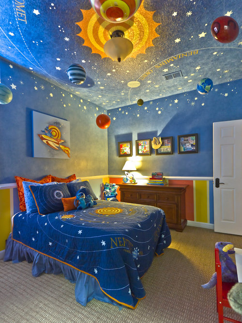 Inspiration For A Contemporary Boy Carpeted Kidsu0027 Bedroom Remodel In  Orlando With Blue Walls
