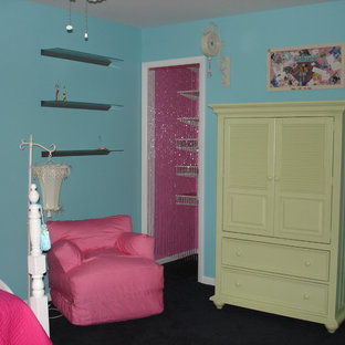 Inspiration for a mid-sized transitional girl carpeted kids' room remodel in Chicago with multicolored walls