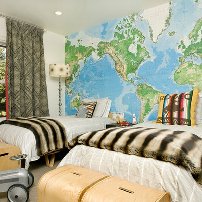 Example of an eclectic gender-neutral carpeted kids' room design in Other
