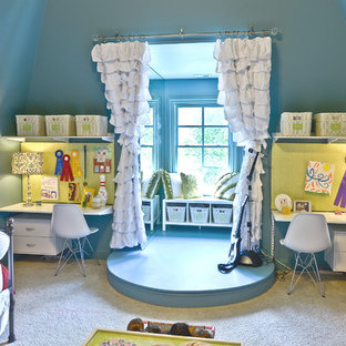 Playroom Contemporary Idea In Cincinnati With Blue Walls