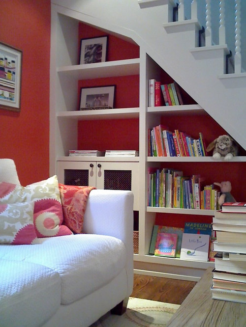 Contemporary playroom idea in Toronto with red walls