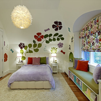 Kids' room - mid-sized contemporary girl medium tone wood floor kids' room idea in Toronto with white walls