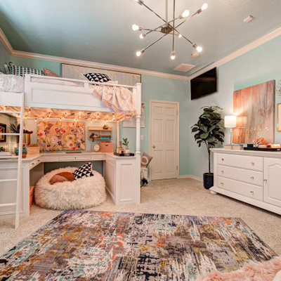 Mid-sized elegant girl carpeted and beige floor kids' room photo in Oklahoma City with blue walls
