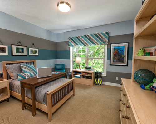 Transitional teen room photo for boys in Columbus with multicolored