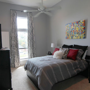 Inspiration for a mid-sized contemporary boy carpeted kids' room remodel in Dallas with gray walls