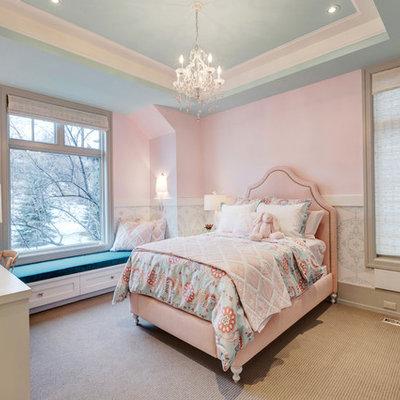 Elegant girl carpeted kids' bedroom photo in Calgary with pink walls