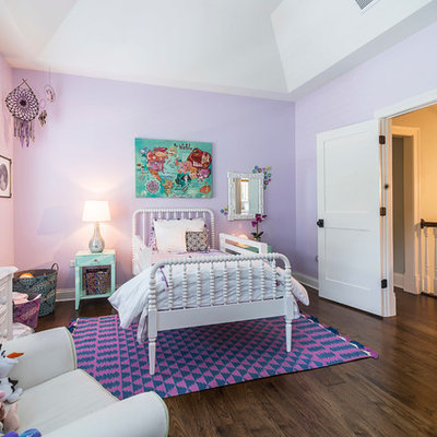 Kids' room - mid-sized traditional girl medium tone wood floor kids' room idea in Chicago with purple walls