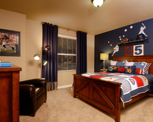 Example Of A Classic Beige Floor And Carpeted Kids Room Design In Denver With Multicolored