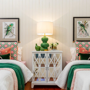 Inspiration for a traditional kids' bedroom for girls in Brisbane with white walls, medium hardwood floors and brown floor.