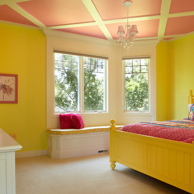 Inspiration for a timeless girl carpeted kids' room remodel in Grand Rapids with yellow walls