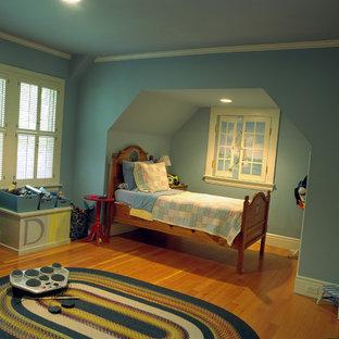 Inspiration för klassiska barnrum, med blå väggar
