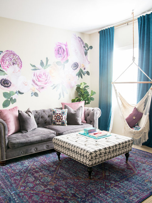 mid sized shabby chic style girl carpeted teen room idea in phoenix with multicolored - Shabby Chic Design Ideas