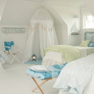 Photo of a medium sized coastal teen's room for girls in Tampa with beige walls, porcelain flooring and white floors.