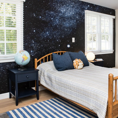 Kids' room - large transitional boy light wood floor kids' room idea in Los Angeles with multicolored walls
