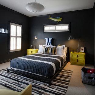 Inspiration för moderna barnrum, med svarta väggar