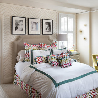 Kids' room - transitional girl carpeted kids' room idea in Austin with beige walls