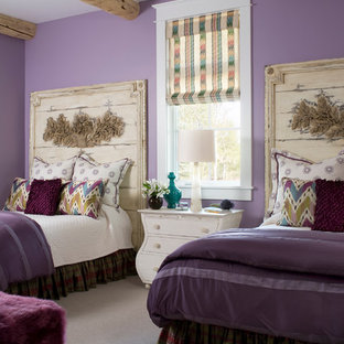 Kids' bedroom - rustic girl carpeted kids' bedroom idea in Denver with purple walls