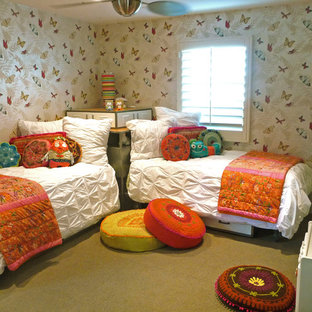 Example of an eclectic girl carpeted kids' room design in San Diego