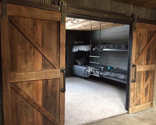 chambre d 39 ado industrielle avec un mur gris photos et id es d co de chambres d 39 ado. Black Bedroom Furniture Sets. Home Design Ideas