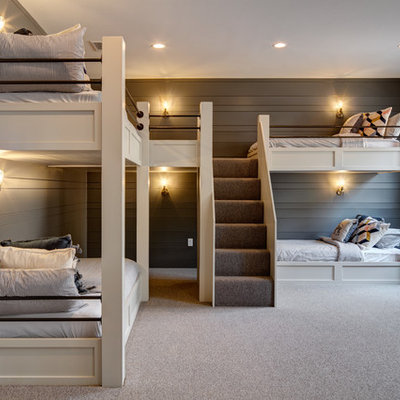 Farmhouse gender-neutral carpeted and gray floor kids' bedroom photo in Salt Lake City with gray walls