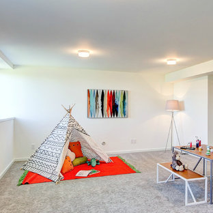 Large trendy gender-neutral carpeted playroom photo in Seattle with white walls