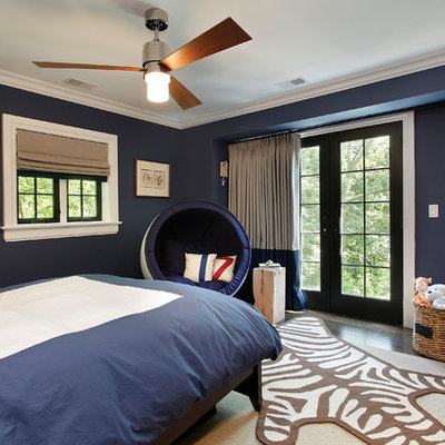 Kids' bedroom - contemporary kids' bedroom idea in Other with blue walls