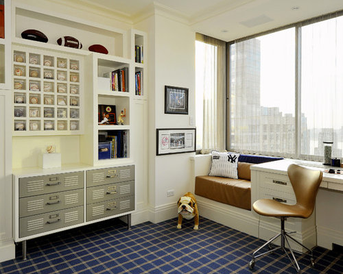 Contemporary Boy Carpeted Kids Room Idea In New York With White Walls