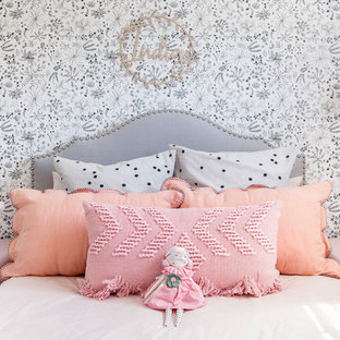 This is an example of a contemporary kids' bedroom for kids 4-10 years old and girls in Sunshine Coast with multi-coloured walls.