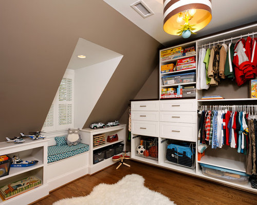 Example Of A Trendy Kids Room Design For Boys In DC Metro With Brown Walls
