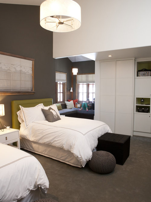 Trendy kids' room photo in Salt Lake City with gray walls