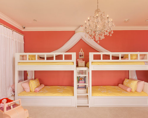 Superieur Example Of A Large Trendy Girl Carpeted Kidsu0027 Bedroom Design In Los Angeles  With Pink