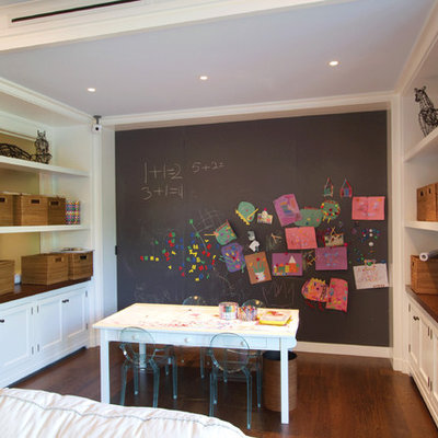 Inspiration for a contemporary medium tone wood floor and brown floor playroom remodel in New York