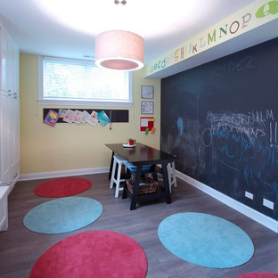 Inspiration for a mid-sized contemporary gender-neutral medium tone wood floor playroom remodel in Chicago with yellow walls