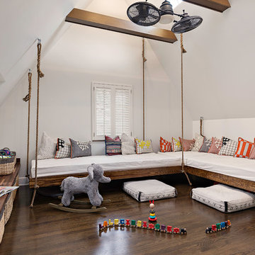 Contemporary Tudor Playroom with Hanging Beds and Built-in Storage