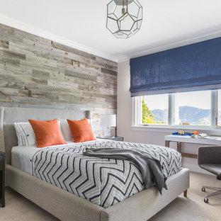 Idéer för att renovera ett mellanstort vintage barnrum kombinerat med sovrum, med heltäckningsmatta