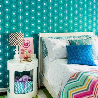 Esempio di una cameretta per bambini stile marinaro con pareti blu