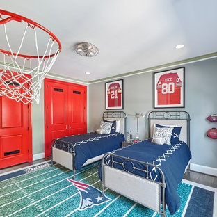 Kids' room - mid-sized transitional boy medium tone wood floor and brown floor kids' room idea in DC Metro with gray walls