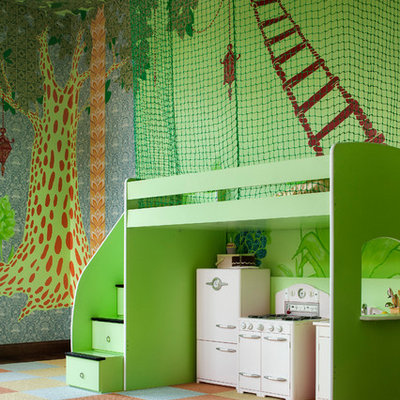 Example of an eclectic gender-neutral carpeted kids' room design in Austin with multicolored walls
