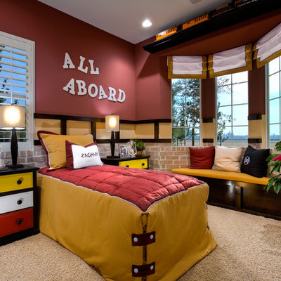 Kids' bedroom - traditional carpeted kids' bedroom idea in Other with multicolored walls