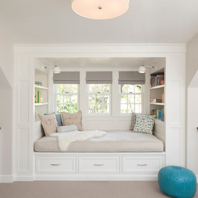 Example of a transitional carpeted kids' room design in Minneapolis with gray walls