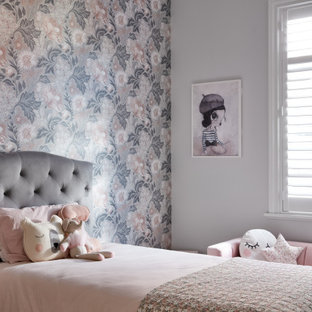 Transitional kids' bedroom in Sydney with white walls, carpet, grey floor and wallpaper for kids 4-10 years old and girls.
